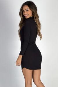 """My Affection"" Black Ribbed Long Sleeve Choker Dress image"