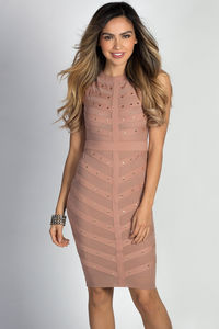 """Cady"" Nude & Gold Studded Sleeveless Mesh Bodice Cocktail Dress image"