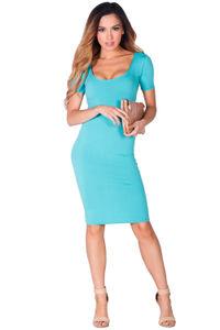 """Prue"" Aqua Blue Short Sleeve Jersey Bodycon Casual Dress image"