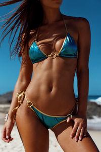 Laguna Turquoise & Gold Center Loop Bikini Top image