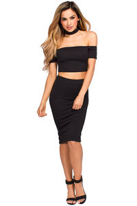 """Ivy"" Black Crop Top & Skirt 2 Piece Choker Dress image"