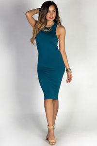 """Body Talk"" Teal Blue Jersey Bodycon Tank Midi Dress image"