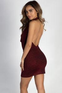 """""""Never Let U Down"""" Red Shimmer Cowl Neck Halter Dress image"""