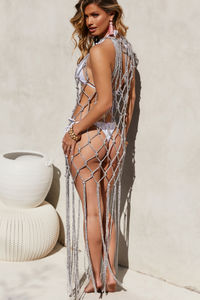Napoleon Silver Fringed Fishnet Beach Cover Up image