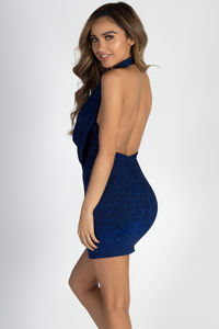 """""""Never Let U Down"""" Royal Blue Shimmer Cowl Neck Halter Dress image"""