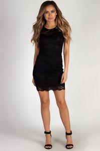 """Sweet Bliss"" Black Sleeveless Floral Lace Sheath Dress image"