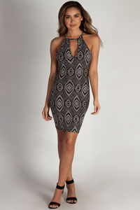 """""""On My Own"""" Black and Gold Metallic Above the Knee Dress image"""