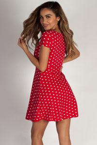 """""""Better Now"""" Red Polka Dot Skater Dress image"""