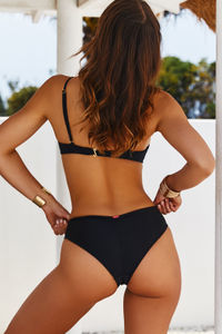 Black Full Coverage Mid-Rise Scrunch Banded Bottom image