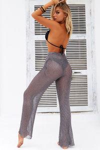 Metropolis Gunmetal Metallic Knit Beach Pants Cover Up image