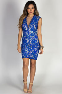"""Kiss Me"" Royal Blue Cap Sleeve Deep V Lace Cocktail Dress image"