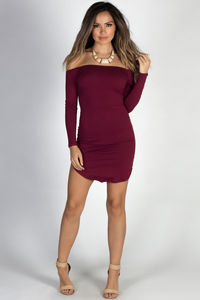 """Without Words"" Burgundy Off Shoulder Dolphin Hem Mini Dress image"