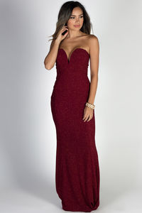 """Wish Come True"" Burgundy Glitter Strapless Plunging Sweetheart Maxi Gown image"