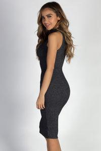 """Talk To Me Nice"" Charcoal Ribbed Sleeveless Dress image"