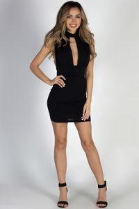 """On The List"" Black Sleeveless Deep V Choker Dress image"