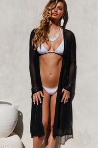 Seductress Black Long Sleeve Kimono Cover Up image