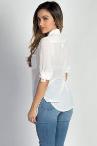 """Daphne"" White Chiffon Tunic Blouse with Sleeves image"