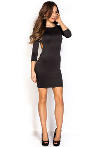 """Jayla"" Black Bodycon Cage Cut Out Backless Dress with Sleeves image"