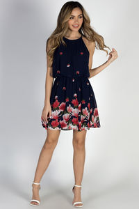 """""""Head in the Clouds"""" Navy Floral Short Chiffon Dress image"""