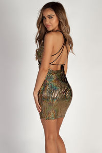 """""""Topic Of Discussion"""" Gold Disco Shine Cross Back Dress image"""