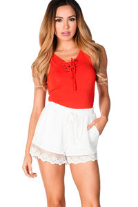 """""""MaryAnne"""" White Lace Trimmed Cute and Sexy Shorts with Pockets image"""