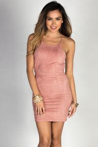 """Kamryn"" Blush Strappy Open Back Faux Suede Dress image"