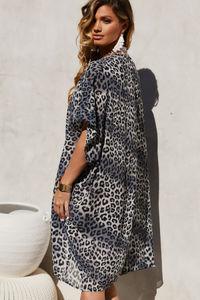 Snow Leopard Chiffon Kimono Cover Up image