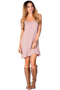 """Adelaide"" Mauve Blush Flowy Spaghetti Strap Halter Trapeze Dress image"