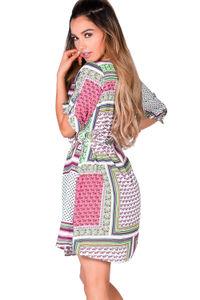 """Irma"" Pink Patchwork Print Embellished Collar Summer Tunic Dress image"