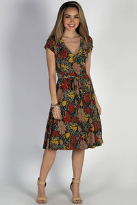 """""""Pretty Picture"""" Olive Floral Short Sleeve Wrap Dress image"""