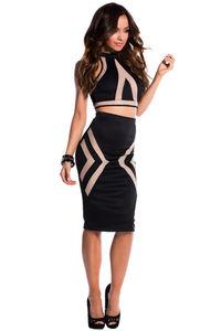 """Tori"" Black Illusion Mesh Cut Out Halter Crop Top Two Piece Dress image"
