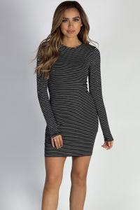 """Let Me Breathe"" Black Striped Soft White Long Sleeve Dress image"