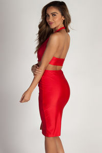 """""""Boo'd Up"""" Red Open Back Buckle Cut Out Midi Dress image"""