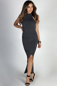 """""""Jetsetter"""" Charcoal Gray Sleeveless Maxi Sweater Dress image"""
