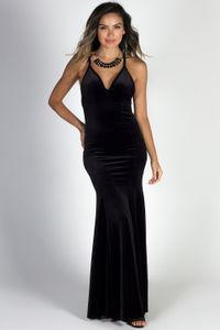 """""""Elegant Opulence"""" Black Spaghetti Strap Velvet Mermaid Gown image"""