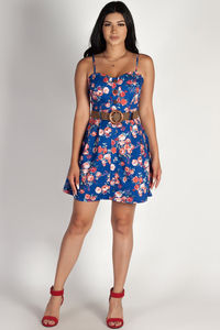 """I'm Good, I'm Gone"" Royal Blue Floral Dress w/ Belt image"