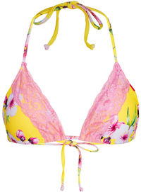 Yellow Cherry Blossom & Baby Pink Edge Lace Triangle Top image