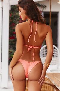 Salmon Triangle Bikini Top image