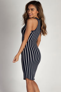 """One Kiss"" Navy Striped Racer Back Dress image"