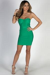 """All About Me"" Green Sweetheart Bandage Mini Dress image"