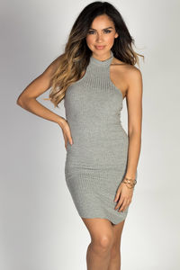 """Aim High"" Heather Gray Bodycon Ribbed Jersey High Halter Neckline Mini Dress image"