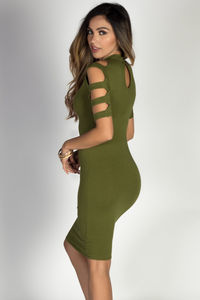 """Rosalind"" Olive Ladder Cut Out Mock Neck Bodycon Dress image"