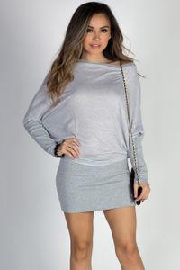 """With You"" Gray Sparkles Asymmetrical Dolman Sweatshirt Dress image"