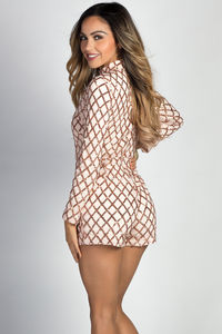 """Cherie"" Blush Lattice Pattern Sequin Long Sleeve Romper image"