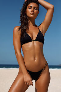 Black Triangle Bikini On a Chain Top image