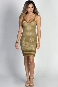 """Diandra"" Metallic Gold Sparkly Glitter Bustier Dress image"