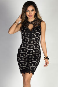 """""""Riva"""" Black Sleeveless Classy Lace Cocktail Dress with Open Back image"""