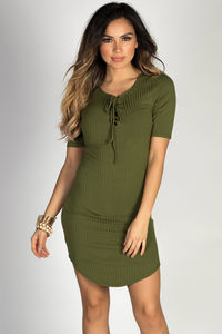 """Live it Up"" Olive Half Sleeve Bodycon Jersey Lace Up Dress image"
