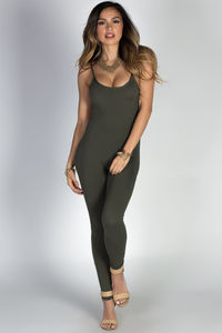 """""""Work It Out"""" Olive Spaghetti Strap Jersey Catsuit Jumpsuit image"""
