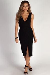 """All My Life"" Black Glitter Sleeveless V-Neck Midi Dress image"